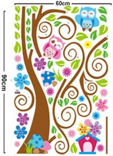 Wall Decal Stickers muraux pour chambre de bébé à motifs jungle avec lion / girafe / écureuil / chouette et arbre coloré