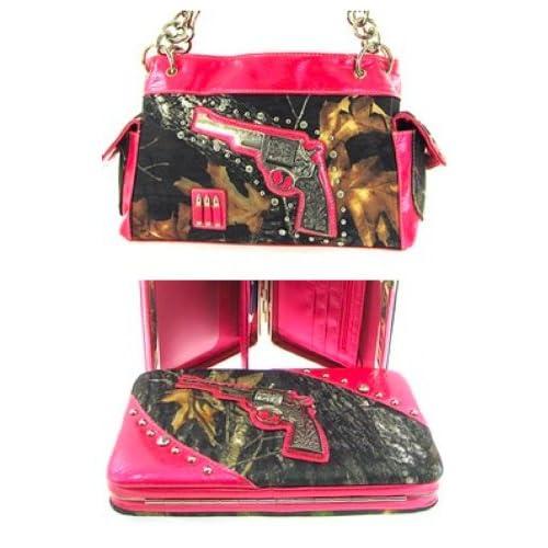 2 Piece Western Revolver Gun Camo Satchel Purse & Flat Clutch Wallet Set Pink Trim Camouflage