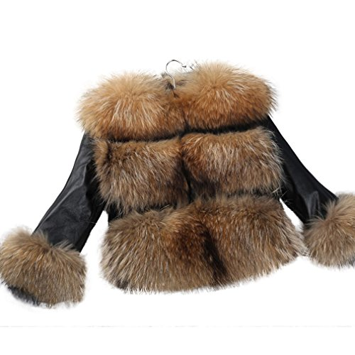 Fur Story Women's Real Raccoon Fur Coat With Sheep Leather Sleeve Thick Warm Coat O Neck US 10 (Solid Genuine Leather Ladies Vest)
