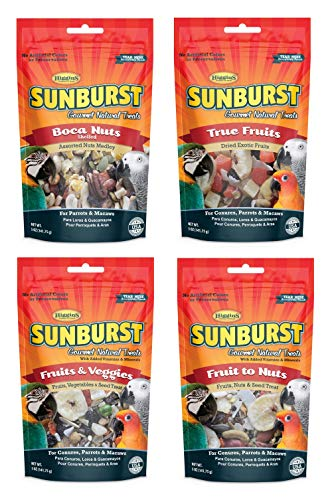 Higgins Sunburst Gourmet Natural Treat Variety Pack for Conures Parrots and Macaws, 4 Flavors, 5 Ounces Each