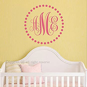 "Monogram Wall Decal Personalized Initial Name Wall Decal Home Decor Baby Nursery Decor (22""h x 22""w PLUS FREE WELCOME DOOR DECAL)"