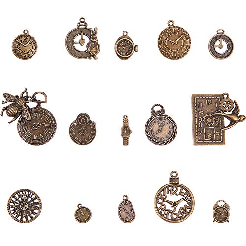 (PandaHall Elite 60 Pcs 15 Styles Tibetan Style Alloy Clocks and Watches Dial Face Movement Charm Steampunk Pendant Connector for Jewelry Making, Antique Bronze)