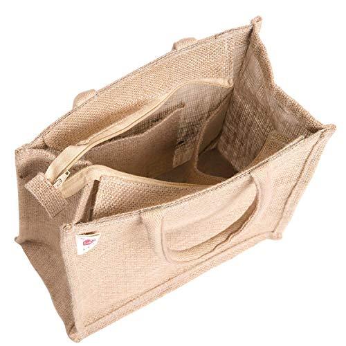 H&B Jute bags for lunch for men | Jute bags with zip | Jute Tote Bag | Jute Tiffin Bags | Printed Jute Bag | jute carry bag | Jute bag medium size (Print: Polka Dots, Beige, Size: 11x10x6 Inch)