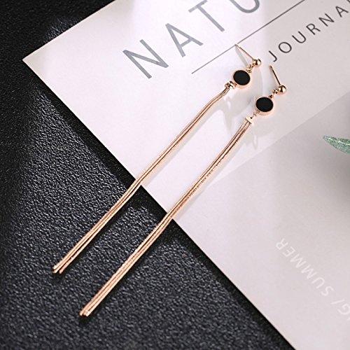 - Korea Exaggerated Black Circles Long Tassel Earrings earings Dangler Eardrop Creative Steel Rose Gold Ear Jewelry Women Girls Glamorous Disco