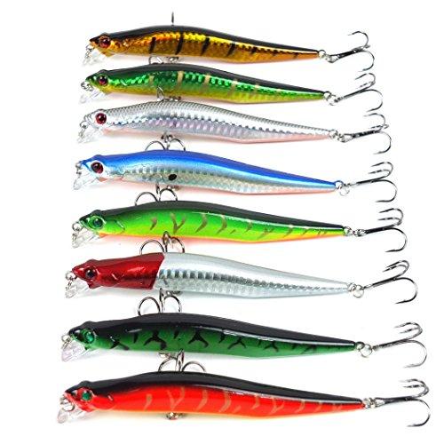 Aorace 8pcs/lot Minnow Fishing Lure Tackle 3D Artificial Bait 8colors Hard Floating Big Fishing Lures Leurre Peche 12cm 10g