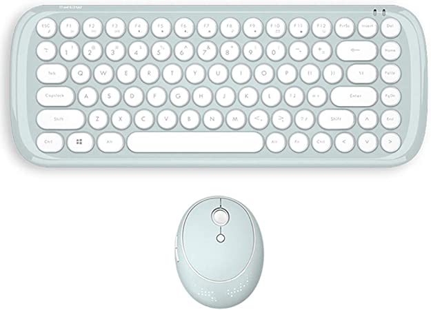 10 meters transmission distance,Yellow 1600DPL Wireless keyboard and mouse mini set round punk desktop 84 keys