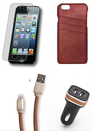 iPhone 6/6s Accessory Pack - Includes Genuine Leather Wallet Card Case (Caramel Cream Brown), Matching Charging Cable, Car Adapter and Tempered Glass Protector - Officially