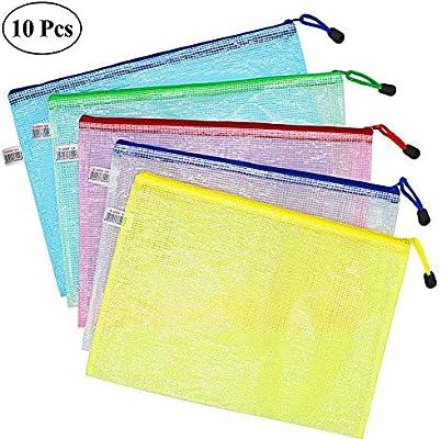 Wskderliner Bolsa portadocumentos para documentos A5, cierre con cremallera, bolsa de malla, de colores, de plástico, paquete de 10 unidades A4