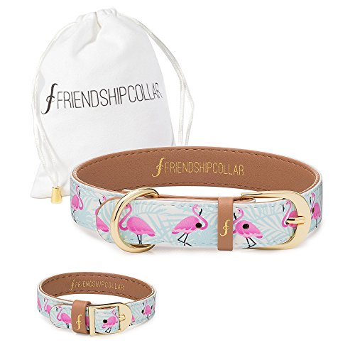 (FriendshipCollar Dog Collar and Matching Bracelet Set - Flamingo Pup - Vegan Leather - 8 Sizes Available - Every Purchase Helps Feed Hungry Shelter Pups)