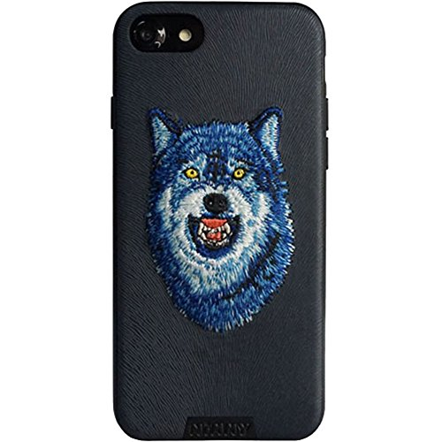 MayAi iPhone 7 Case Wolf Embroidered Gel Case Black, iPhone 8 Case Silicone, Leather Resistant Back Cover, Protective Slim Fit Flexible TPU Case for iPhone 6