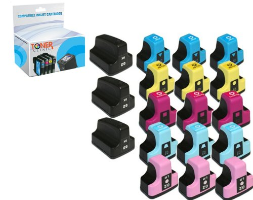 - Toner Clinic ® 18PK 3 Black 3 Cyan 3 Magenta 3 Yellow 3 Light Cyan 3 Light Magenta Compatible Inkjet Cartridge for HP 02 02XL 02-XL HP02 HP02XL For use in HP Inkjet Printers Photosmart 3108 3110 3210 3210-xi 3310 8230 8250 C5100 C5140 C5150 C5180 C5183 C6100 C6150 C6180 C6200 C6240 C6250 C6280 C6283 C7150 C7180 C7200 C7250 C7280 C7283 C7288 C8150 C8180 C8183 D6100 D6160 D7160 D7200 D7260 D7360 D7400 D7460 - 18 Pack Compatible Inkjet Cartridges