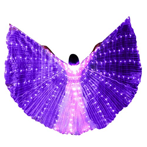 MURTIAL LED Belly Party Dance Angel Isis Wings Butterfly Wings with Telescopic Sticks Purple ()