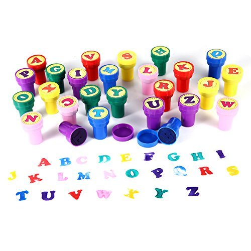 LUCKYBIRD Letter Stamps for Classroom and Teachers, Colorful Self Inking Plastic Alphabet Stamps for Kids, 26 Count