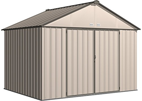 Arrow EZ10872HVCRCC EZEE Shed Extra High Gable 72'' Walls, 10 x 8', Cream with Charcoal Trim Finish by Arrow