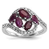 ICE CARATS 14k White Gold Diamond Red Ruby Band Ring Size 7.00 Gemstone Fine Jewelry Gift Set For Women Heart