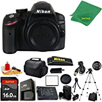 Nikon D3200 DSLR Camera Body + 16 GB Memory Card + Case + Reader + Full Size Tripod + 6PC Starter set + Microfiber Cloth + Extra Charger - International Version