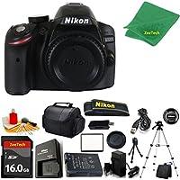 Nikon D3200 DSLR Camera Body + 16 GB Memory Card + Case + Reader + Full Size Tripod + 6PC Starter set + Microfiber Cloth + Extra Charger - International Version