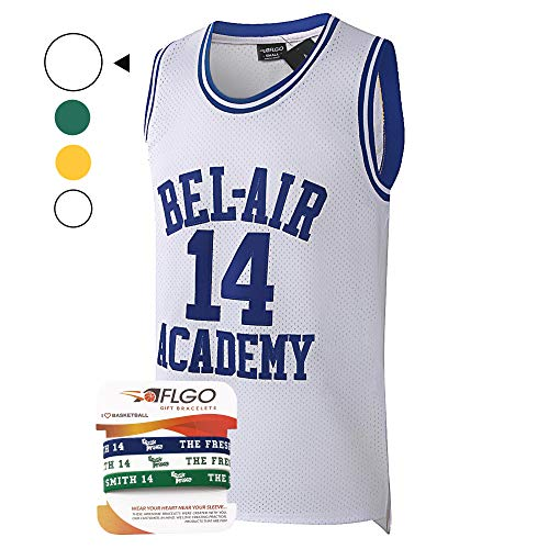 AFLGO Fresh Prince of Bel Air #14 Basketball Jersey S-XXXL - 90's Clothing Throwback Will Smith Costume Athletic Apparel Clothing Top Bonus Combo Set with Wristbands (White, ()