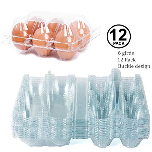 12 Pack - Clear Plastic Premium Eco-Friendly Egg Carton Holder for Family Pasture Chicken Farm Business Market Camping Picnic Travel - Holds 6 Eggs Securely ()
