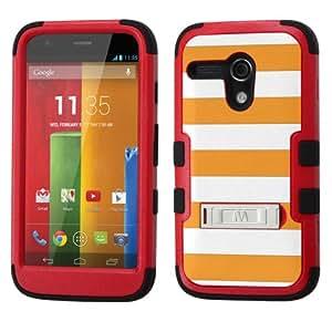 UNQUITI MOTOROLA MOTO G 4G LTE Case - TuMax Hybrid Cover(Red Black) - STRIPE (Deep Saffron/White)