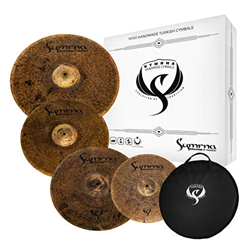 Symrna Cymbals Hand Hammered Cymbal Pack Made in ISTANBUL (14″HiHat/17″Crash/18″Crash/21″Ride) (4 Pieces) Raven Series Box Set V2 (Weight: Thin) 2-YEAR Warranty
