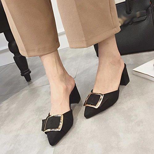 SCLOTHS Chanclas Para Mujeres Poner el pie tacón alto Baotou gruesas con cómodo mediados talón Negro
