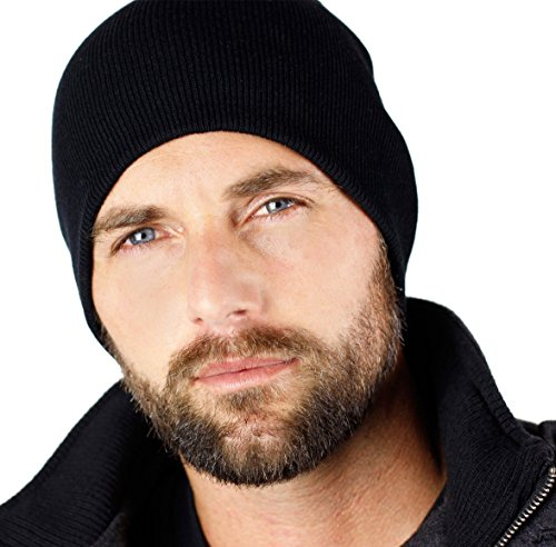 9' Solid Black Skull Cap Beanie That Will Fit Your Head Perfect