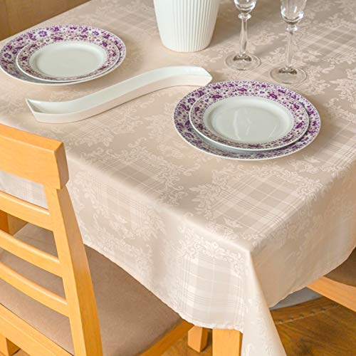 Stain Resistant Tablecloth Polyester Ivory Easter Table Cover -Rectangular Square Round Washes Easily Non Iron - Thanksgiving Christmas New Year Eve Dinner Wedding (BEIGE Damask, Rectangular 60