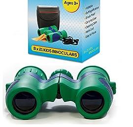 Kidwinz Shock Proof 8x21 Kids Binoculars Set - Bird Watching - Educational Learning - Hunting - Hiking - Birthday Presents - Gifts for Children - Outdoor Play - Preschool Spy Toys (USA SELLER)