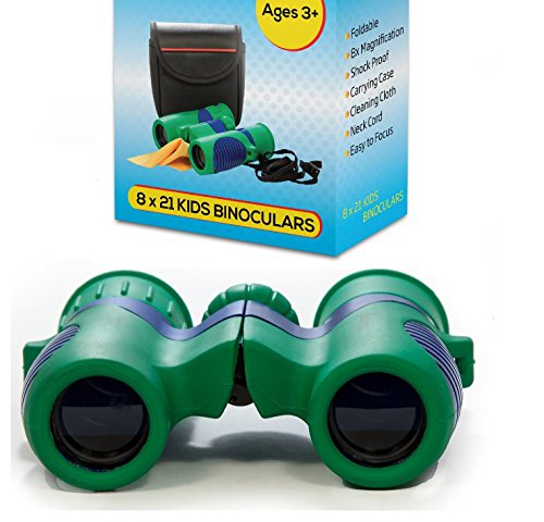 Kidwinz Shock Proof 8x21 Kids Binoculars Set High Resolution Real Optics - Bird Watching - Birthday Presents - Children Gifts - Boys ()