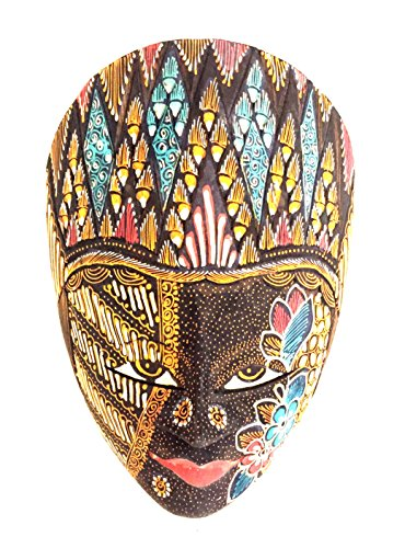 OMA African Statue Wall Hanging African Decor Mask Lucky African Queen - Batik, Handmade, Brand (Tiki Mask Lucky)