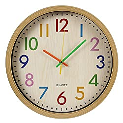 RELIAN Kids Wall Clock Silent Non Ticking Wall Clock with Large Colorful Arabic Numbers, 12 inch Quartz Battery Operated Wall Clock for Bedroom, Living Room and School Classroom (Wooden Frame)