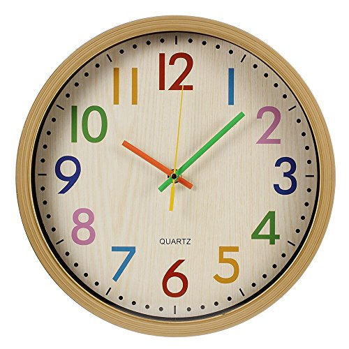 RELIAN Kids Wall Clock Non Ticking Wall Clock with Large Colorful Arabic Numbers, 12 inch Quartz Battery Operated Wall Clock for Bedroom, Living Room and School Classroom (Wooden -