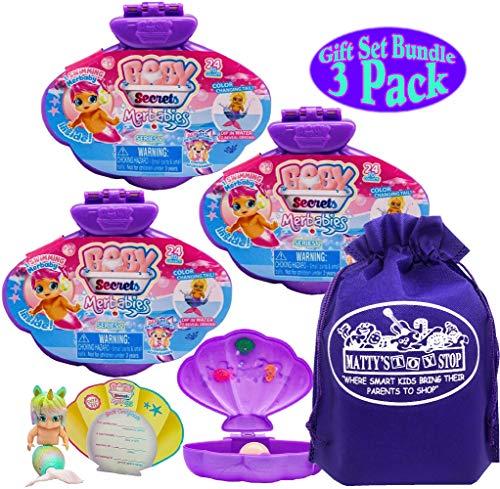Baby Secrets Merbabies Series 2 Surprise Gift Set Party Bundle with Bonus Mattys Toy Stop Storage Bag - 3 Pack (Assorted)