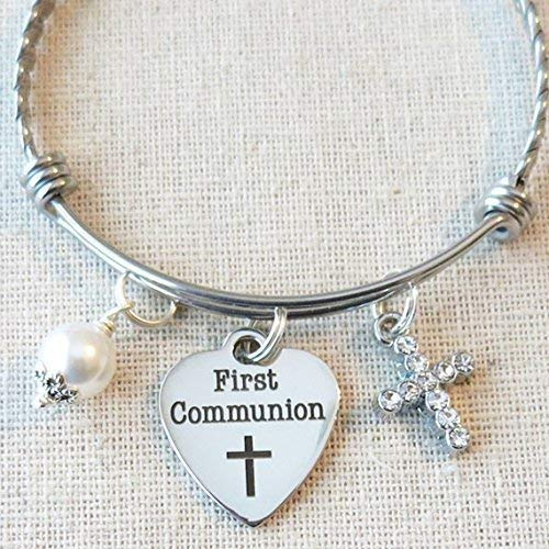 COMMUNION Bracelet, Little Girl First 1st Communion Gift, Religious Cross Jewelry, 1st Communion Stainless Charm Bracelet, Little Girl First Holy Communion Gift for Goddaughter ()