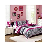 Girls Pink Animal Print Coverlet Bedding Set with Shams Includes Scented Candle Tart (full/queen)