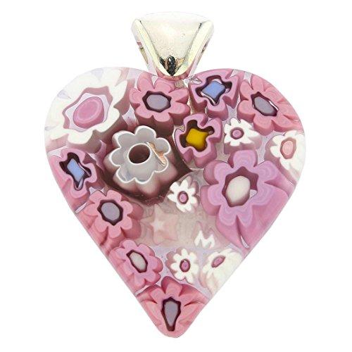 GlassOfVenice Murano Glass Modern Millefiori Heart Pendant - Tender (Millefiori Glass Pendant Necklace)