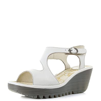94bb5e9badb Womens Fly London Yanca Off White Leather Wedge Heel Sandals Shoes SIZE 2