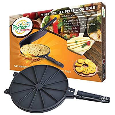 Perfect Tortilla Press 2-in-1 Corn and Flour Tortillas Maker, Non Electric Machine, Non-Stick, up to 10 Inch Size