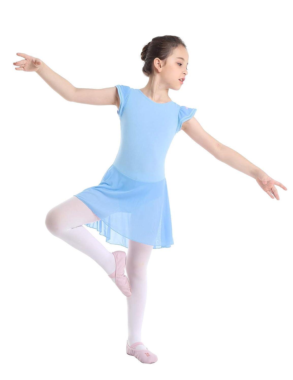 CHICTRY Kids Girls Dance Dress Gymnastics Ballet Skirted Leotard with Flutter Sleeves