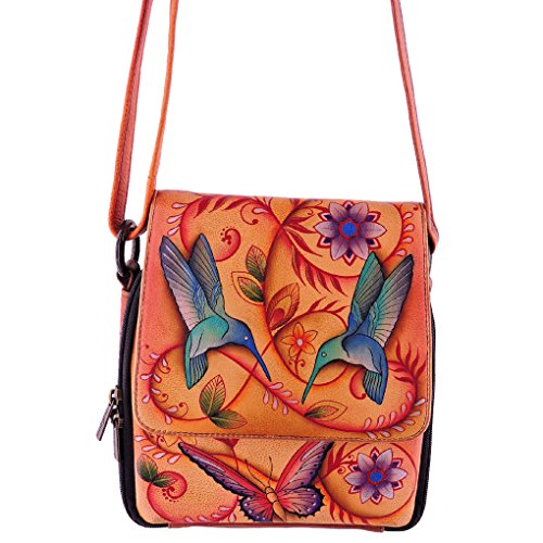 anuschka-genuine-leather-hand-painted-triple-compartment-crossbody-organizer-flying-jewels-tan