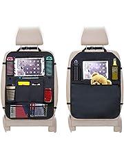URAQT Autostoelbeschermer, 2 stuks achterbank-organizer voor kinderen, doorzichtige iPad tablethouder, autostoelbeschermer, waterdicht, kick-matten, bescherming in universele pasvorm