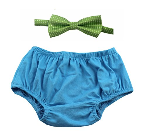 First Birtday Boy Outfit includes Bloomers and Bow Tie (Blue Bloomer and Green Bow)
