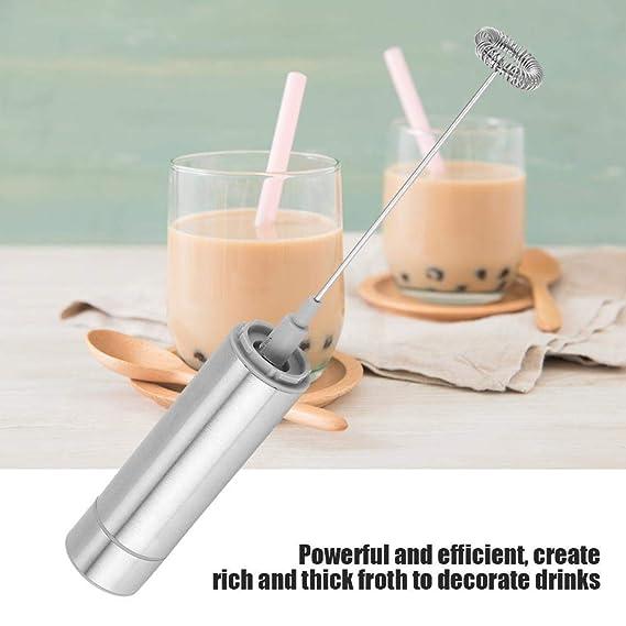Espumador de leche eléctrico, Espuma de bebida de café de espumador de leche de cabeza única de batidor eléctrico de mano de acero inoxidable: Amazon.es: ...