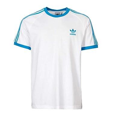 on sale 5faee 87230 adidas Originals T-Shirt Herren 3-Stripes Tee DZ4586 Weiss Blau, Größe:L