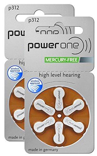 Power One Size 312 MERCURY FREE Hearing Aid Batteries, 2Pack (60 Batteries)