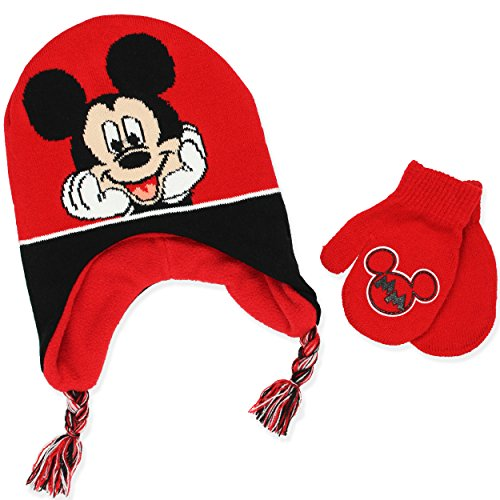 Mickey Mouse Boys Beanie Hat and Mittens Set (Cherry (Printed Fleece Mitten)