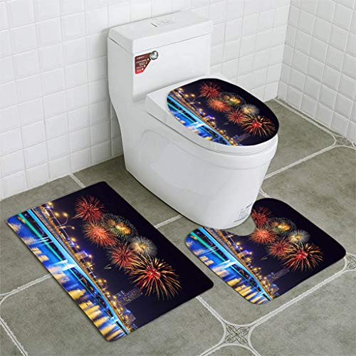 BEISISS Bathroom Mat Sets 4 Piece-Non-Slip - Short Plush Firework Over Jubilee Bridge Singapore Bathroom Rug + Contour pad + lid Toilet seat+Toilet seat Cushion