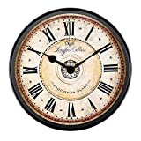 Wall Clock, Attoe 12 inch Black European Style Retro Vintage Wall-Mounted Clock Non