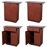 4 Barber Styling Station Package with Storage - Cherry